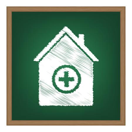 emt: Hospital sign illustration. White chalk effect on green school board.