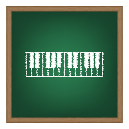 acoustically: Piano Keyboard sign. White chalk effect on green school board.