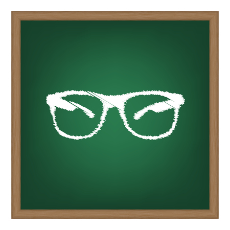 tinted: Sunglasses sign illustration. White chalk effect on green school board.