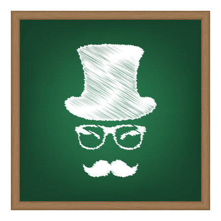 Hipster accessories design. White chalk effect on green school board. Illustration