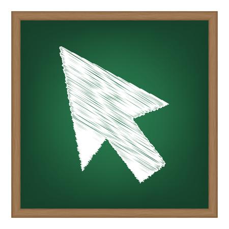 Arrow sign illustration. White chalk effect on green school board.