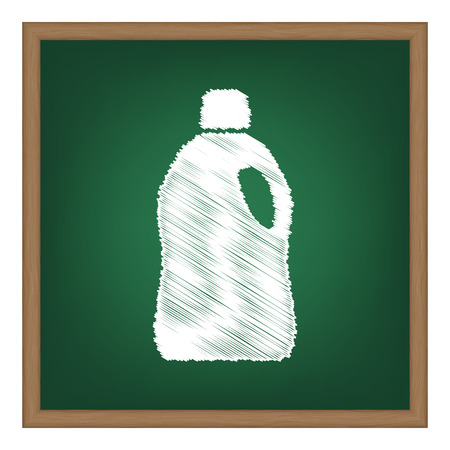 green cleaning: Plastic bottle for cleaning. White chalk effect on green school board. Illustration