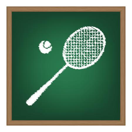 tennis racquet: Tennis racquet sign. White chalk effect on green school board.