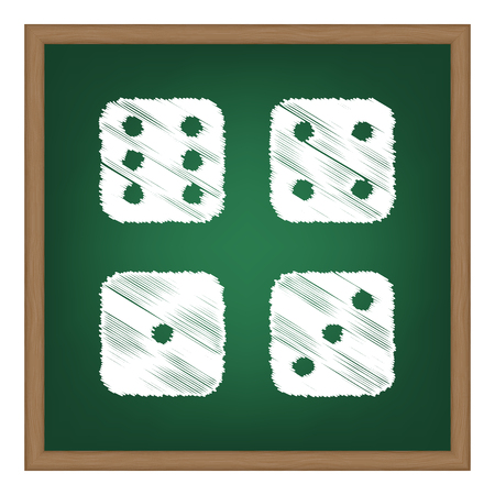 devil's bones: Devils bones, Ivories sign. White chalk effect on green school board.