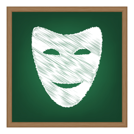 comedy: Comedy theatrical masks. White chalk effect on green school board. Illustration