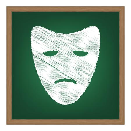 tragedy: Tragedy theatrical masks. White chalk effect on green school board.