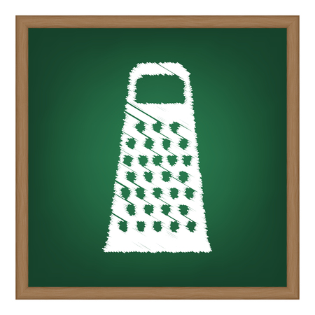 grater: Cheese grater sign. White chalk effect on green school board.