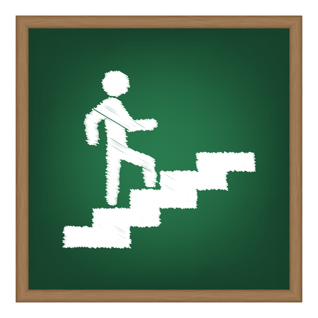 going green: Man on Stairs going up. White chalk effect on green school board. Illustration
