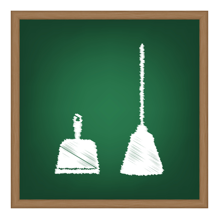 whisk broom: Dustpan vector sign. Scoop for cleaning garbage housework dustpan equipment. White chalk effect on green school board. Illustration