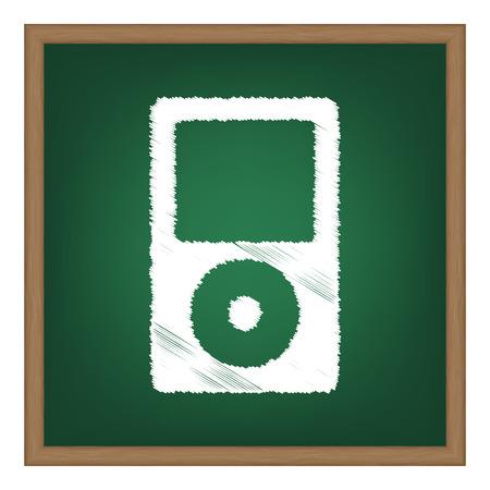 mp: Portable music device. White chalk effect on green school board. Illustration