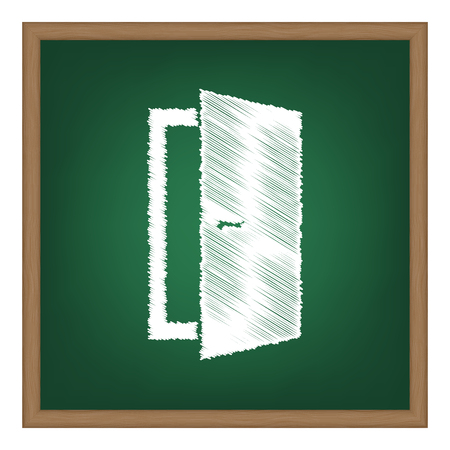 door sign: Door sign illustration. White chalk effect on green school board. Illustration