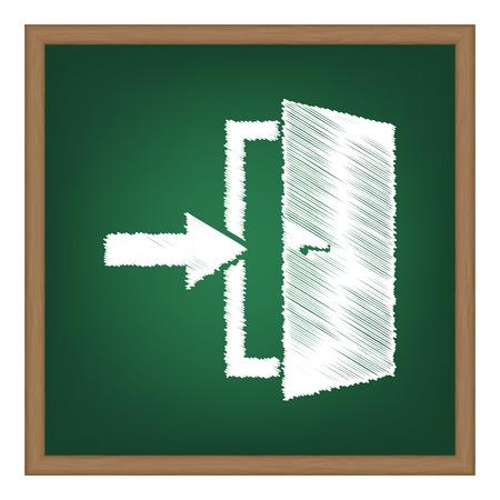 doorknob: Door Exit sign. White chalk effect on green school board.
