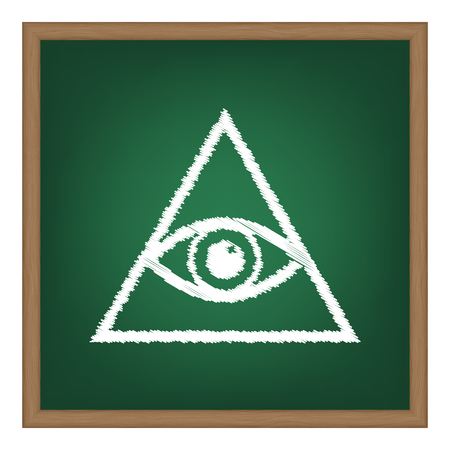 new world order: All seeing eye pyramid symbol. Freemason and spiritual. White chalk effect on green school board.