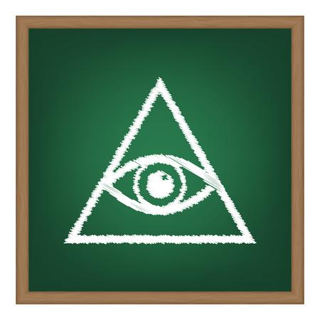 all seeing eye: All seeing eye pyramid symbol. Freemason and spiritual. White chalk effect on green school board.