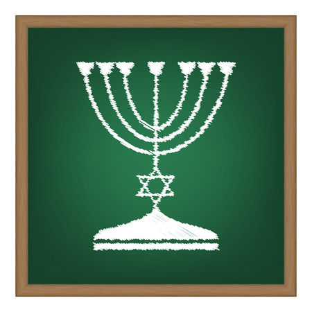 candlestick: Jewish Menorah candlestick in black silhouette. White chalk effect on green school board.
