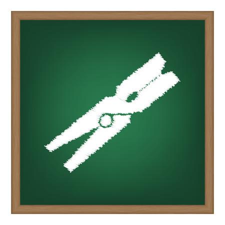 peg: Clothes peg sign. White chalk effect on green school board. Illustration
