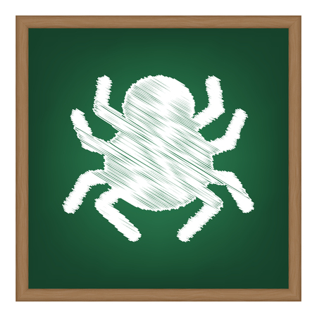 Spider sign illustration. White chalk effect on green school board.