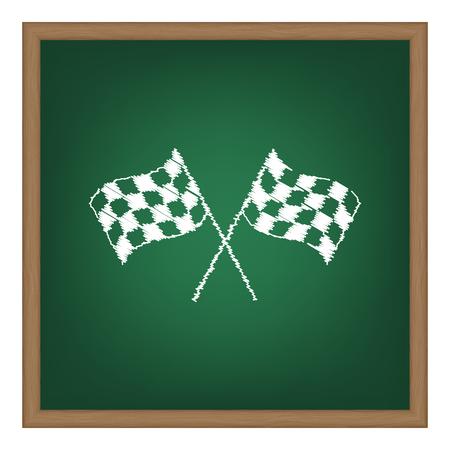 crossed checkered flags: Crossed checkered flags waving in the wind conceptual of motor sport. White chalk effect on green school board.