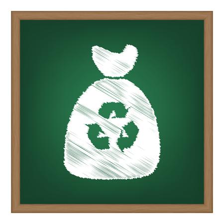 Trash bag icon. White chalk effect on green school board.