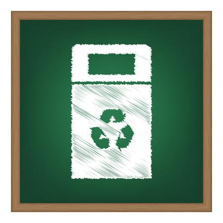 trashcan: Trashcan sign illustration. White chalk effect on green school board.