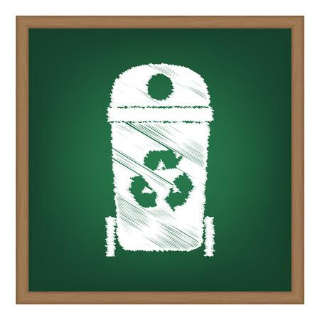 trashing: Trashcan sign illustration. White chalk effect on green school board.