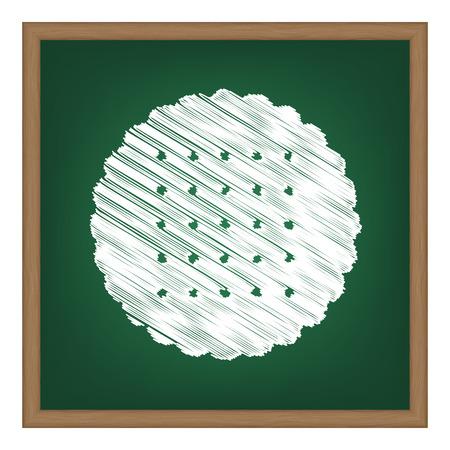 scone: Pyramid sign illustration. White chalk effect on green school board.