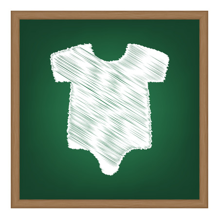 Baby sign illustration. White chalk effect on green school board.