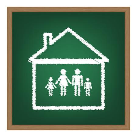 socialize: Family sign illustration. White chalk effect on green school board.