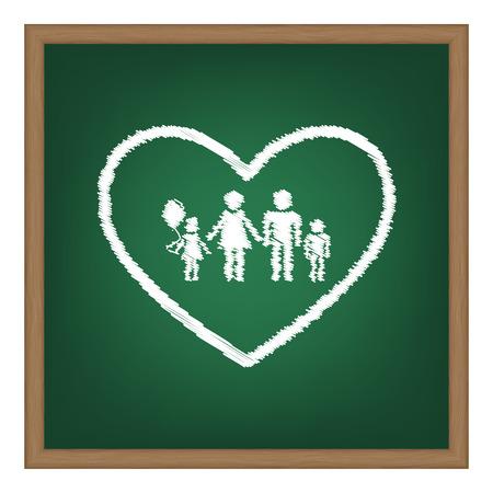 siloette: Family sign illustration in heart shape. White chalk effect on green school board.