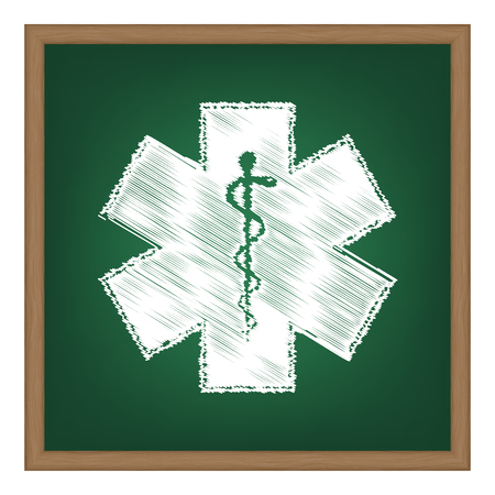 aesculapius: Medical symbol of the Emergency - Star of Life - icon isolated on white background. Vector.