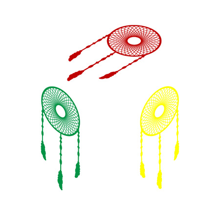 Dream catcher sign. Isometric style of red, green and yellow icon.