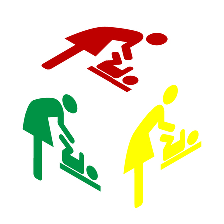 Symbol for women and baby, baby changing. Isometric style of red, green and yellow icon.