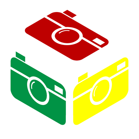Digital photo camera sign. Isometric style of red, green and yellow icon.