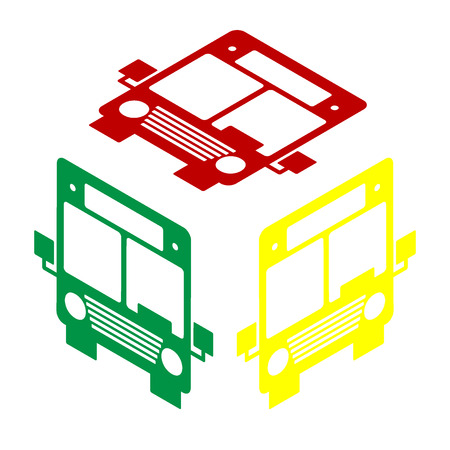 Bus sign illustration. Isometric style of red, green and yellow icon.
