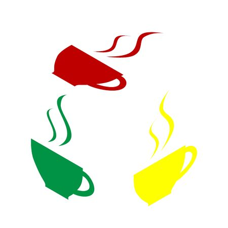 Cup of coffee sign. Isometric style of red, green and yellow icon.