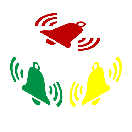 Ringing bell icon. Isometric style of red, green and yellow icon. Illustration