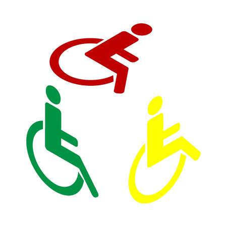 Disabled sign illustration. Isometric style of red, green and yellow icon.