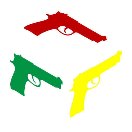 Gun sign illustration. Isometric style of red, green and yellow icon. Illustration