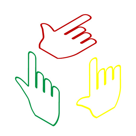 depress: Hand sign illustration. Isometric style of red, green and yellow icon.