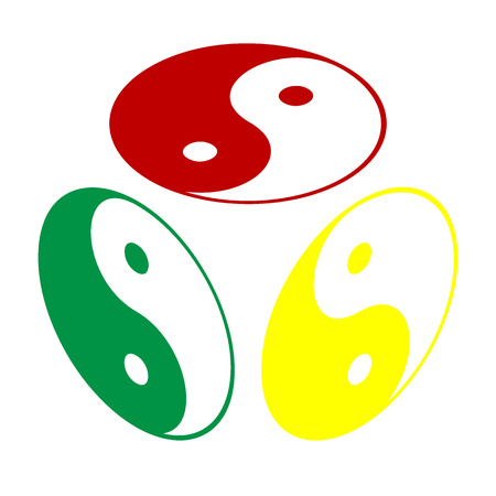 Ying yang symbol of harmony and balance. Isometric style of red, green and yellow icon.