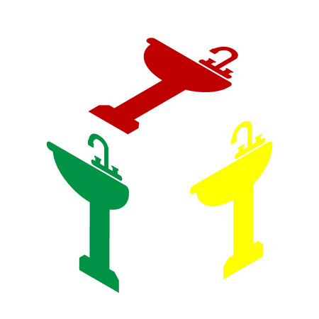 bathroom sink: Bathroom sink sign. Isometric style of red, green and yellow icon.