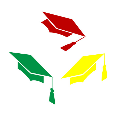 completion: Mortar Board or Graduation Cap, Education symbol. Isometric style of red, green and yellow icon.