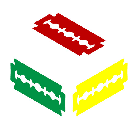 razor blade: Razor blade sign. Isometric style of red, green and yellow icon.