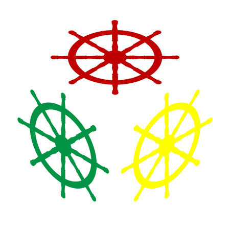 Ship wheel sign. Isometric style of red, green and yellow icon.