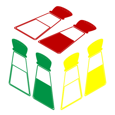 Salt and pepper sign. Isometric style of red, green and yellow icon. Illustration