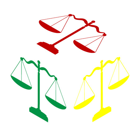 Scales balance sign. Isometric style of red, green and yellow icon.