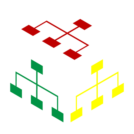 Site map sign. Isometric style of red, green and yellow icon.