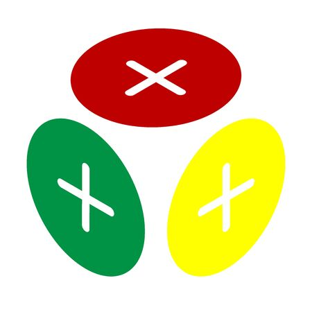Positive symbol plus sign. Isometric style of red, green and yellow icon.