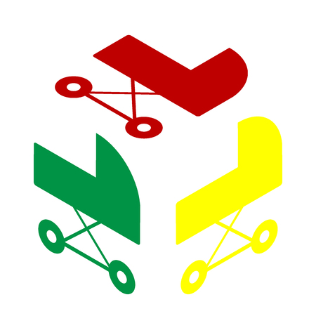 perambulator: Pram sign illustration. Isometric style of red, green and yellow icon.