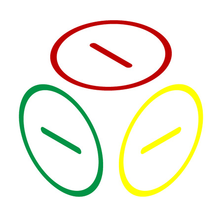 minus sign: Negative symbol illustration. Minus sign. Isometric style of red, green and yellow icon.